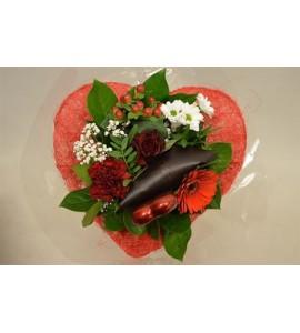 Bouquet coeur rouge