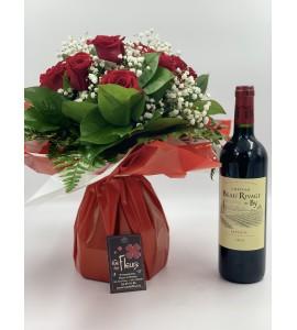 Bouquet Paris S et Bouteille de Vin rouge