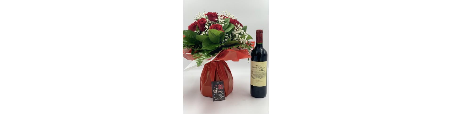Bouquet et Bouteille de vin